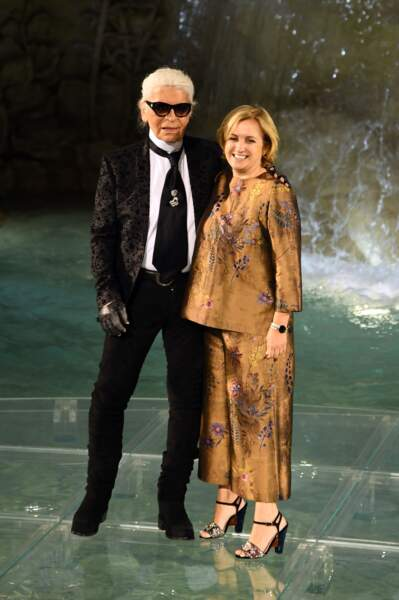 90 ans de Fendi : Karl Lagerfeld (directeur artistique de la marque) et Silvia Venturini Fendi