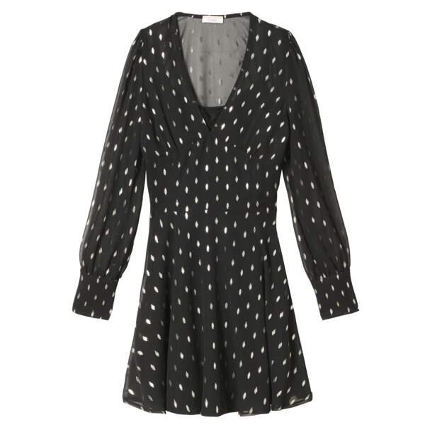Caroline Receveur x Morgan : robe légère imprimé doré, 70 euros