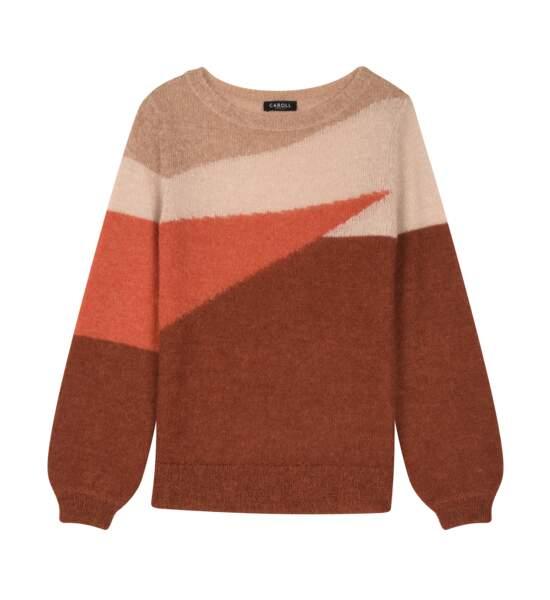 Pull en laine et mohair, CAROLL,95€