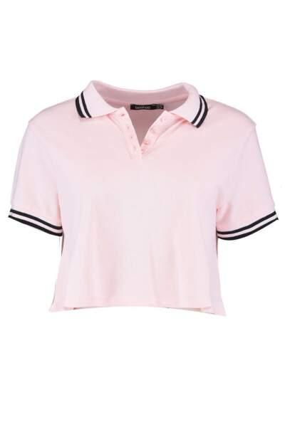 T-shirt polo trapèze court, Boohoo, 18 euros au lieu de 24 euros