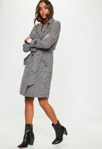 Trench à carreaux, Missguided, 82,50€