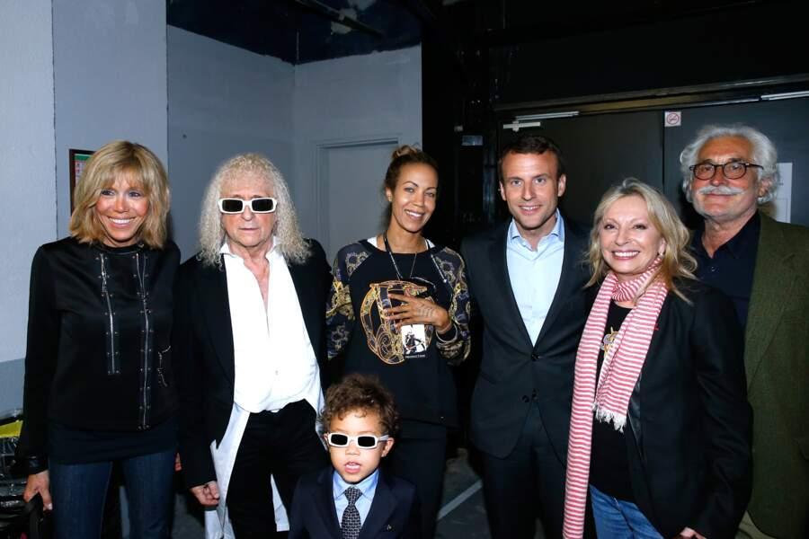 Véronique Sanson avec Christian Meilland, Michel Polnareff et Danyellah ainsi que leur fils Louka, le couple Macron