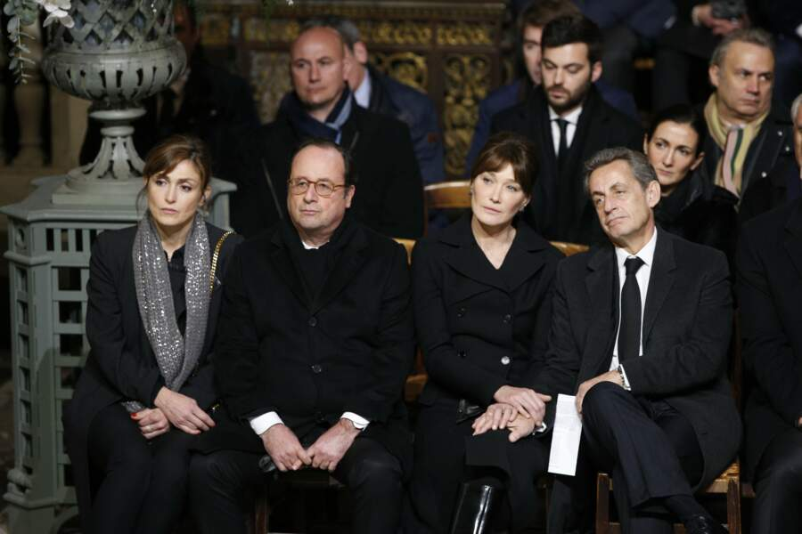 Hommage à Johnny Hallyday : Julie Gayet, François Hollande, Carla Bruni et Nicolas Sarkozy