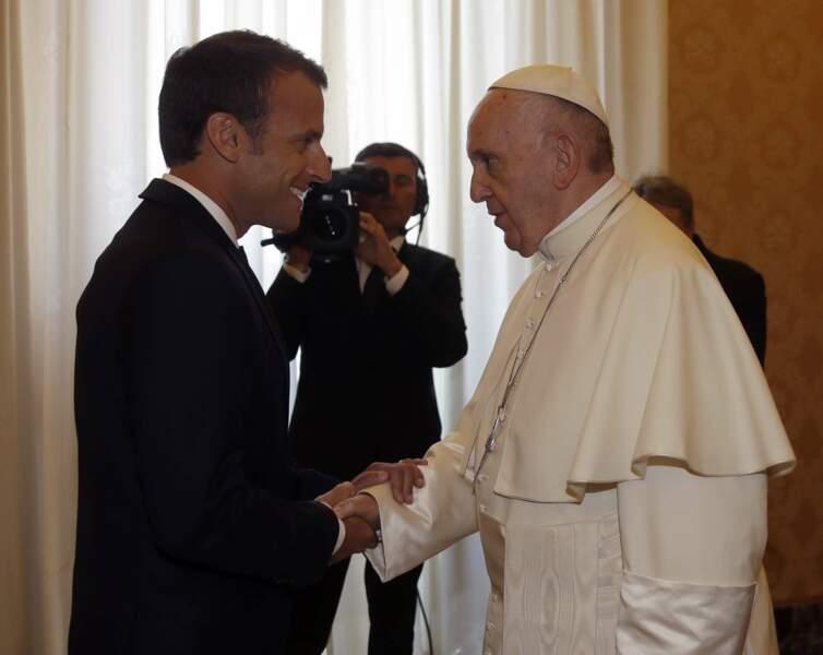 Emmanuel Macron rencontre le pape François au Palais du Vatican