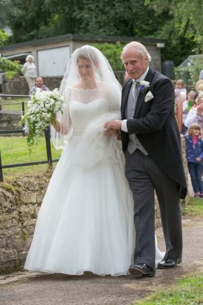 Mariage de Celia McCorquodale et George Woodhouse : La mariée et son père Neil McCorquodale