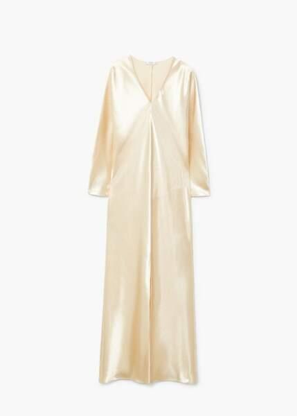 Robe longue satinée, Mango, 59,99€ au lieu de 99,99€