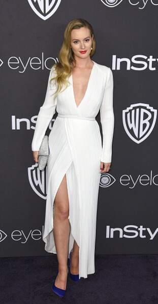 Leighton Meester avec une robe blanche