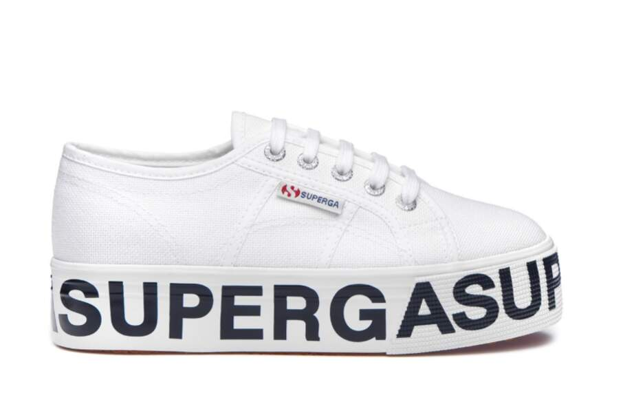 Tennis compensées avec inscription logo, Superga, 89€
