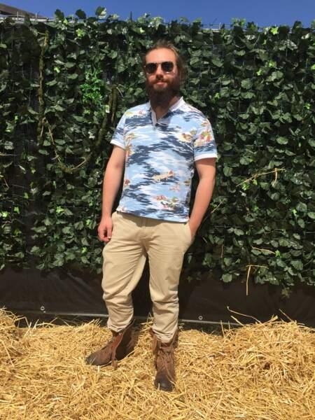 Marvellous Island Festival 2016: Charles arborait un polo Lacoste imprimé canon et des boots de chez Doursoux