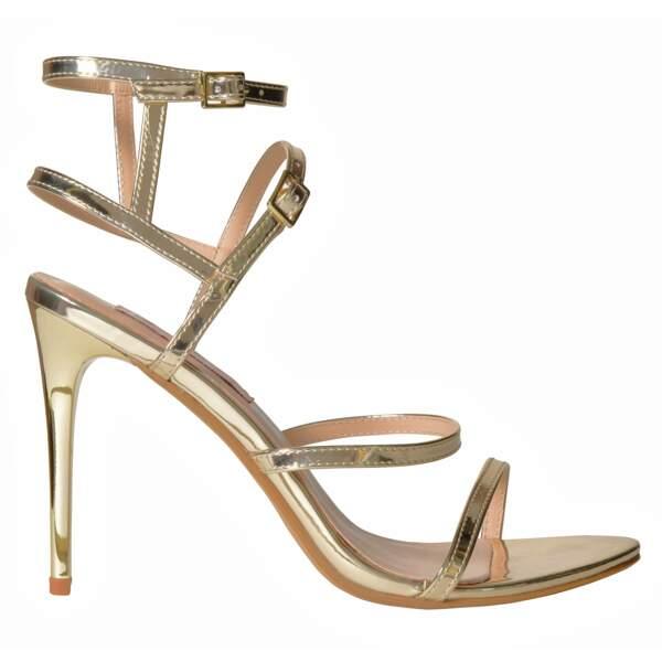 Caroline Receveur x Morgan : sandales dorées, 69 euros