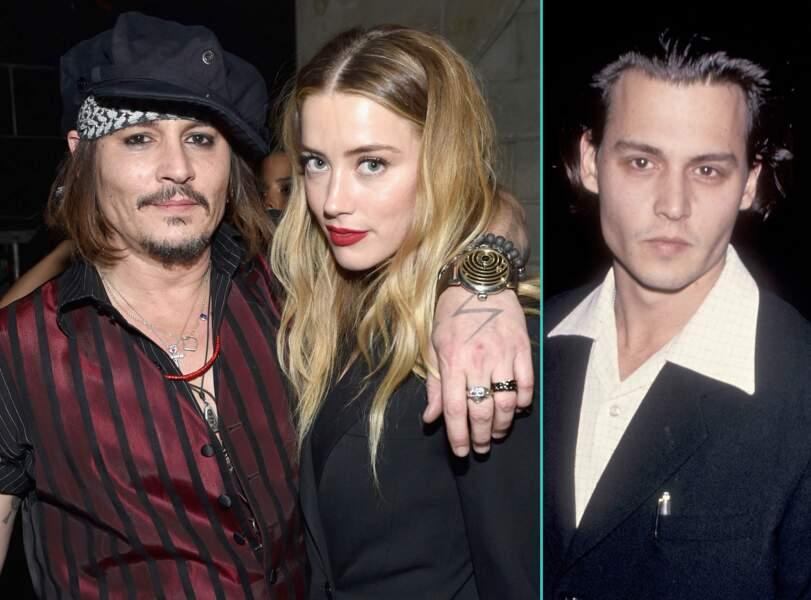 Johnny Depp aujourd'hui à 52 ans et à 29 ans, l'âge actuel de sa femme Amber Heard