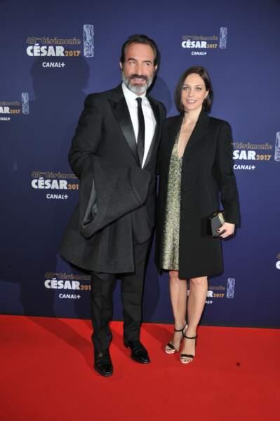 Jean Dujardin et Nathalie Péchalat lors de la 42e cérémonie des César, en 2017