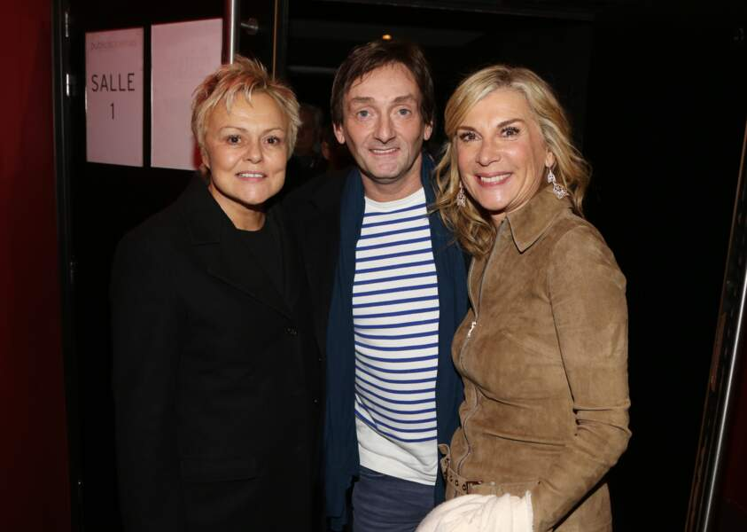 Muriel Robin, Pierre Palmade et Michèle Laroque à l'avant-première du film Brillantissime, Paris