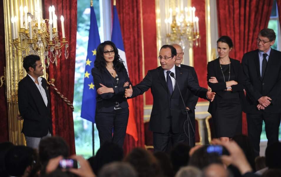 Jamel Debbouze, Yamina Benguigui, François Hollande, Aurelie Filippetti et Vincent Peillon