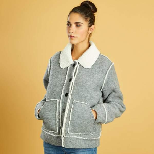 15 pièces modes à shopper chez Kiabi : Blouson en lainage doublure sherpa, 28 euros au lieu de 35 euros