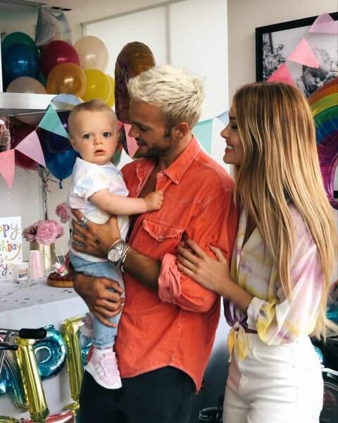 Caroline Receveur, Hugo Philip et leur fils le 6 juillet 2019 pour la fête d'anniversaire de Marlon