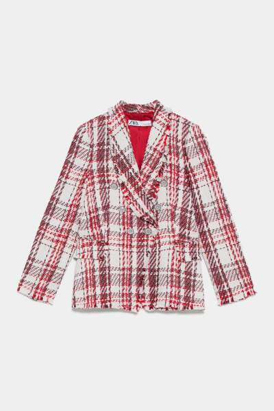 Veste en tweed avec boutons en perle, Zara, 89,95€
