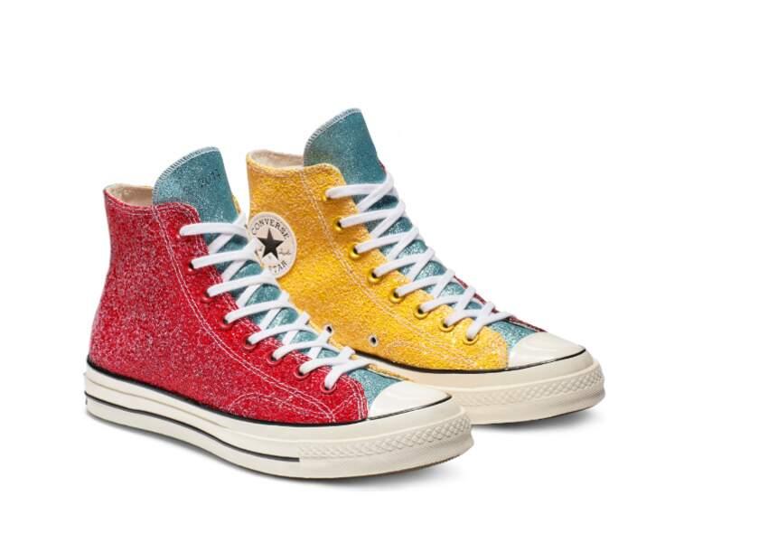 Baskets glitters tricolore, Converse x JW Anderson, 130€