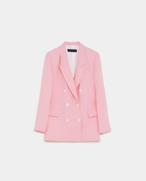 Veste à boutonnage croisé, Zara, 69,95 euros