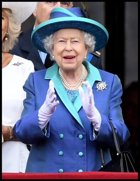La reine Elizabeth II au centenaire de la Royal Air Force, à Buckingham Palace, à Londres