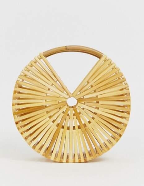 Sac rond en bambou, Asos Design, 26,49€