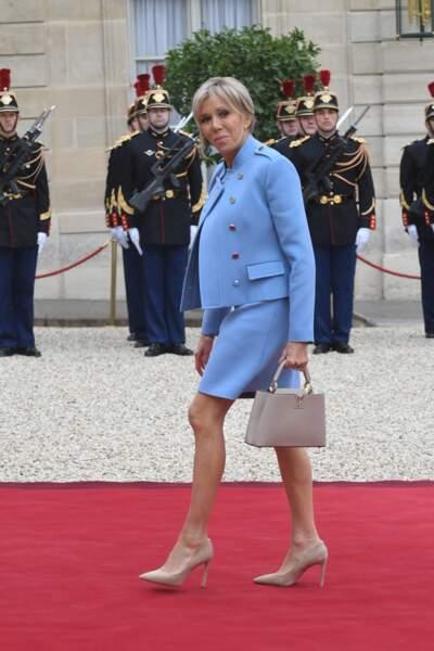 Brigitte Macron en total look Louis Vuitton
