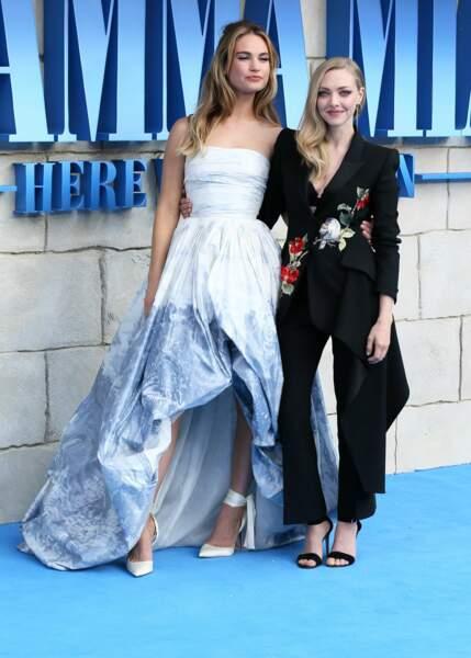 Lily James et Amanda Seyfried à l'avant-première de Mamma Mia 2 à Londres, le 16 juillet