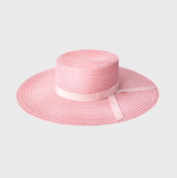 Grand canotier en paille Sisal pink, Marie Mercié, 432 €