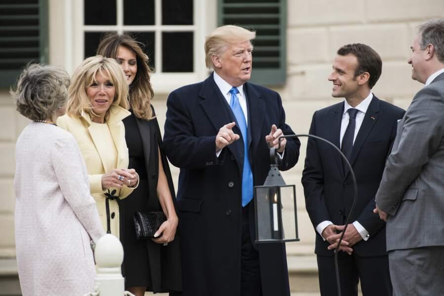 Emmanuel et Brigitte Macron rendent visite à Donald et Melania Trump