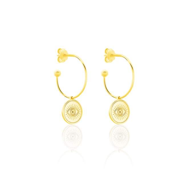 Boucles d'oreilles oeil, Histoire d'Or, 55€