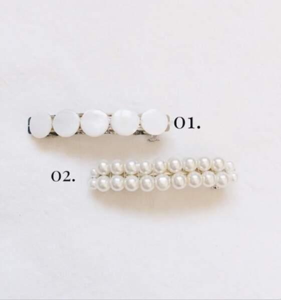 Barrette Maha en perles de nacre ou perles de verre, Bordezac, 21€