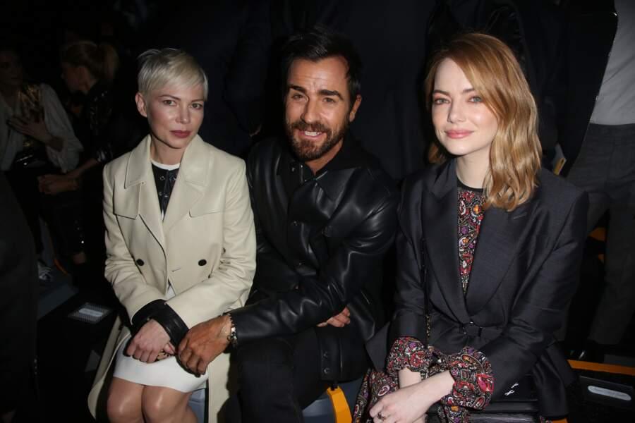Michelle Williams, Justin Theroux et Emma Stone au défilé Louis Vuitton lors de la fashion week de Paris, le 6 mars