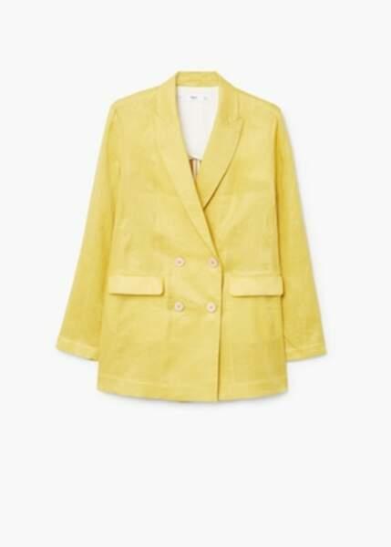 Veste en lin double boutonnage, Mango, 34,99€ au lieu de 69,99€
