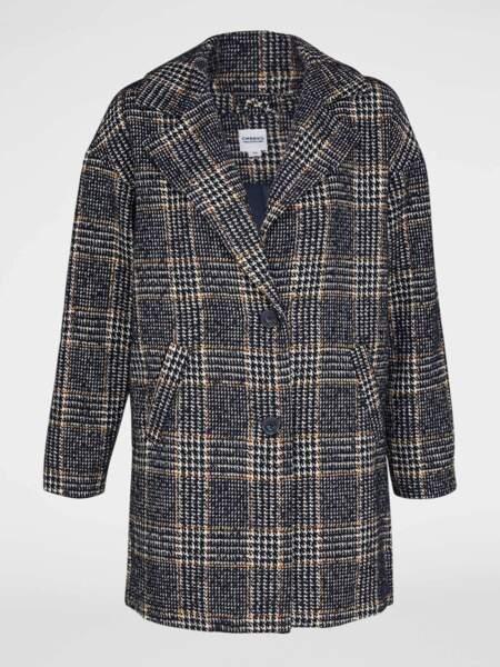 Manteau droit imprimé carreaux, Creeks via La Halle, 39€