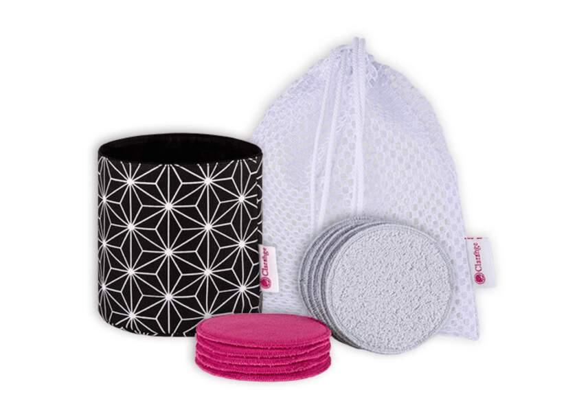 Coffret de démaquillage cotons réutilisables avec box, Clarange, 49€