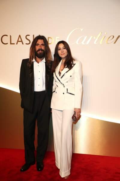 Nicolas Lefevre et Monica Bellucci au dîner Cartier, le 10 avril 2019 à la Conciergerie de Paris