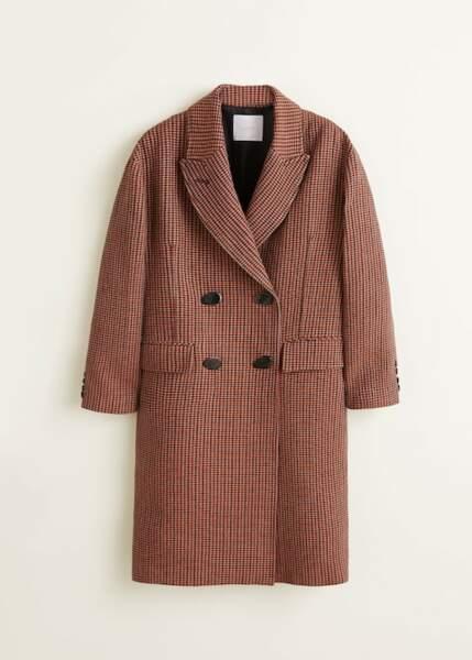Manteau à carreaux et double boutonnage, Mango, 149,99€