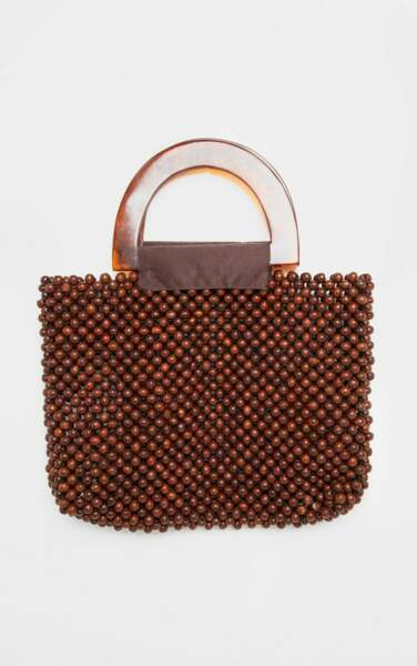 Mini sac perlé marron à anse écaille de tortue, PrettyLittleThing, 12€ au lieu de 40€