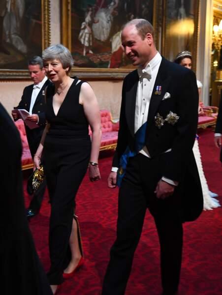 Prince William et Theresa May (Première ministre du Royaume-Uni) au banquet d'Etat organisé à Buckingham Palace