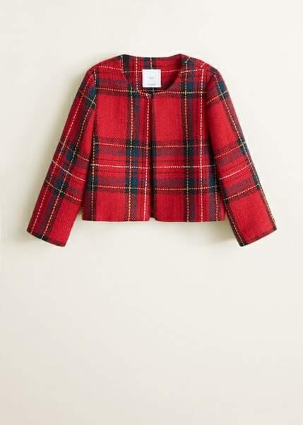 Veste en tweed à carreaux écossais, Mango, 69,99€