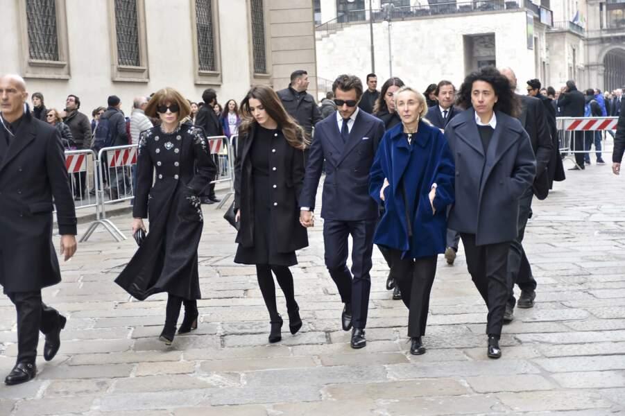 Messe hommage à Franca Sozzani : Anna Wintour, Bee Shaffer, son fils Francesco Carrozzini, Carla Sozzani