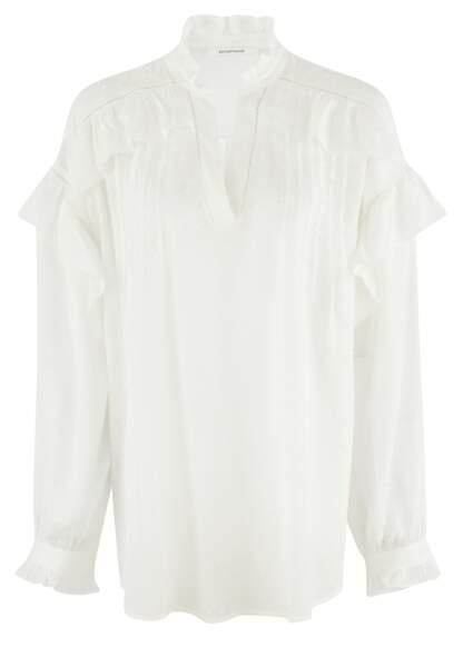 Blouse blanche à volants, Promod, 39,95 euros