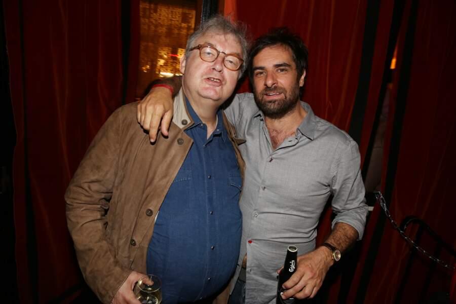 Dominique Besnehard et Gregory Montel à la fête de fin de tournage de la saison 3 de Dix pour cent, à Paris