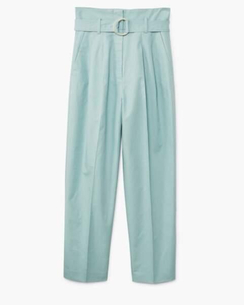 Pantalon à pinces, bleu ciel, Mango, 49,99 euros
