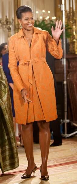 Michelle Obama stylée : on valide l'ensemble robe et veste de la même couleur