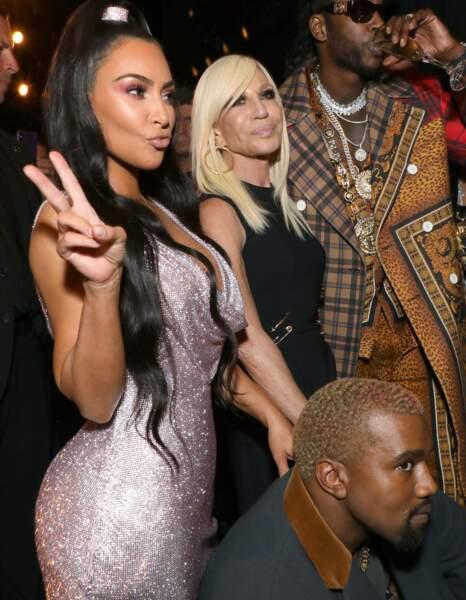 Kim Kardashian et Donatella Versace, au défilé Versace, le 2 décembre 2018, à New York