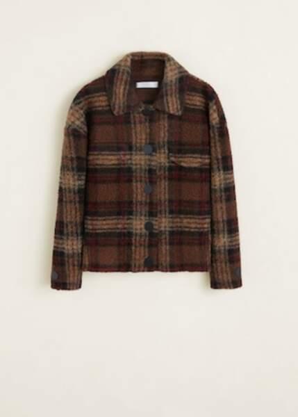 Veste en laine à carreaux, Mango, 79,99€