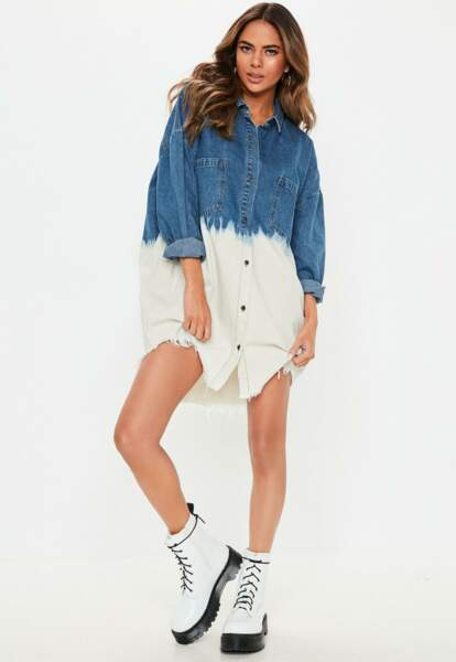 Robe chemise en jean tie and dye, Missguided, 52,50€