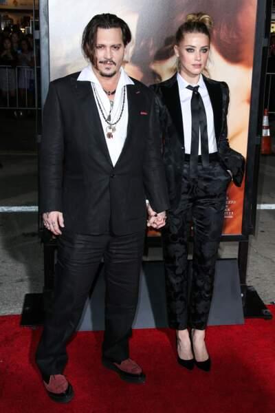 Johnny Depp et sa femme Amber Heard à l'avant-première de The Danish Girl