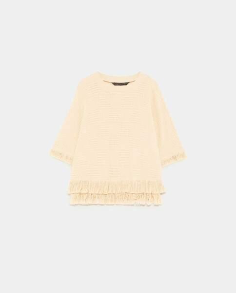 Top en tweed à franges, Zara, 39,95 euros